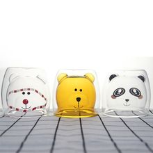 В форме медведя с двойными стенками, прозрачная стеклянная чашка для чая, кофейные чашки для влюбленных, кружка, подарок для детей