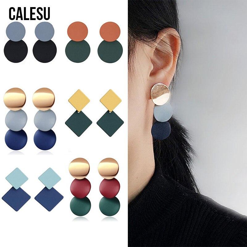 CALESU женские серьги простой красочные акриловые серьги, модные ювелирные изделия, корейский, геометрической формы круглые серьги капли серь...