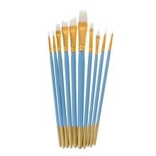 10Pcs Blue Oil Gouache Watercolor Painting Nail Art Pen White Nylon Hair Brushes