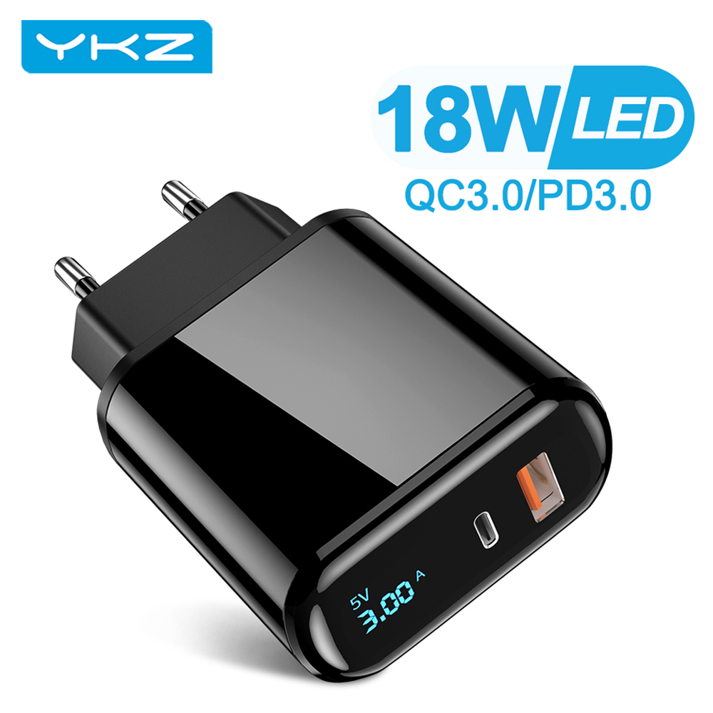 Сетевое зарядное устройство YKZ YK-CH005, USB Type-C/ Type-A, 18 Вт, черный