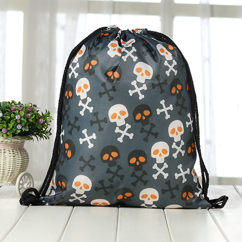 Drawstring Backpack Fashion Women 3D Printing Travel Softback Men Casual Bags Unisex Women's Shoulder Drawstring Bag Halloween