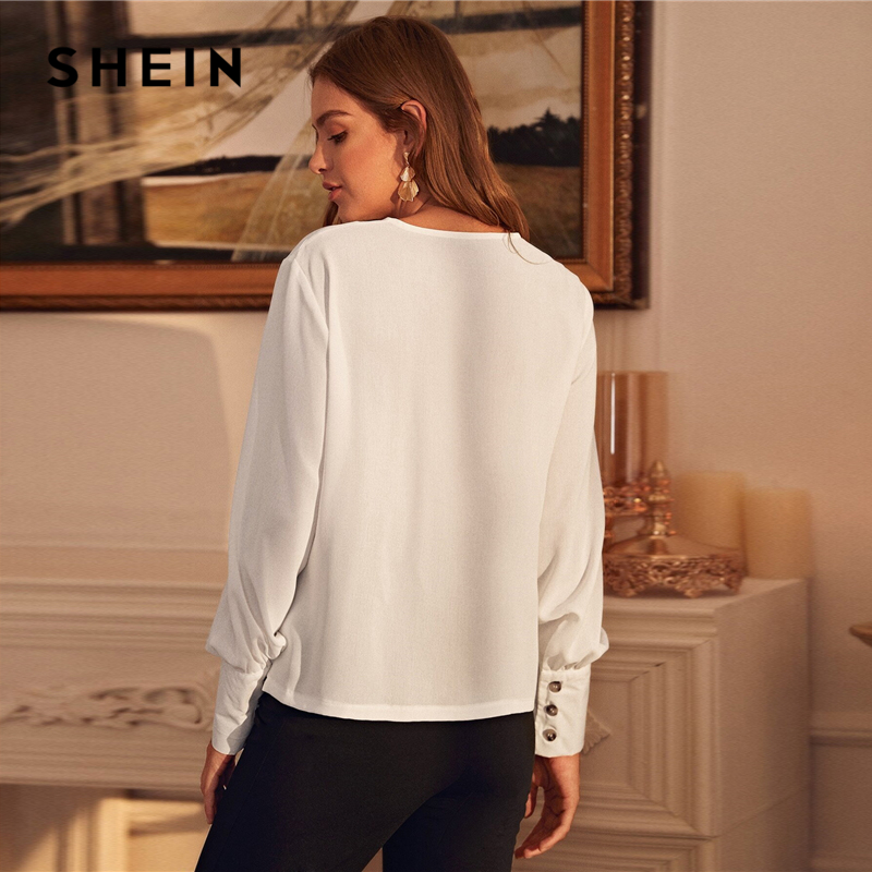 SHEIN White Solid Bishop Long Sleeve Button Front Blouse Women Tops Office Lady Spring V-Neck Elegant Chiffon Shirt Blouses 2