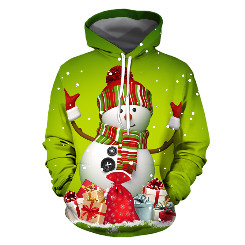 Christmas Snowman Printing Women Santa Claus Christmas Novelty Ugly CHRISTMAS Snowman 3D Sweater Hooded Sweater Warm Sweater