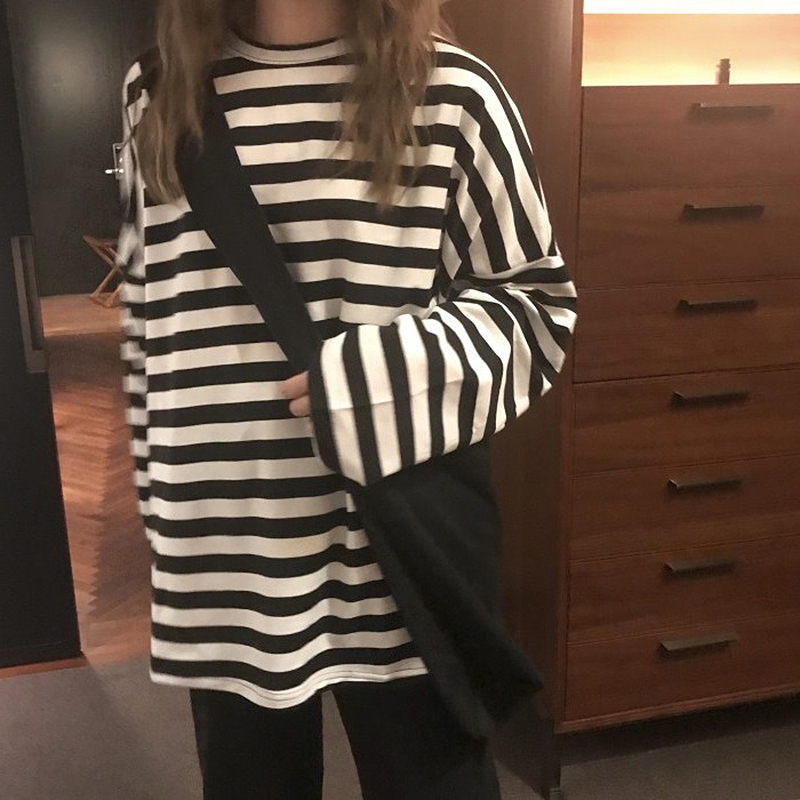 spring Autumn Women harajuku Striped Tshirt Long Sleeve O-Neck T-Shirts ulzzang Korean Casual oversized T Shirt Femme black Tops