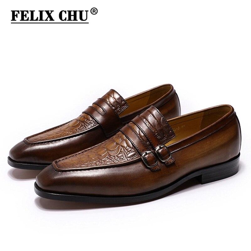 Ayakk.'ten Resmi Ayakkabılar'de FELIX CHU Rahat Iş erkek Elbise Ayakkabı Hakiki Deri Timsah Baskı Kahverengi Parti Düğün Mens Loafer'lar Çift Tokaları Ile'da  Grup 1