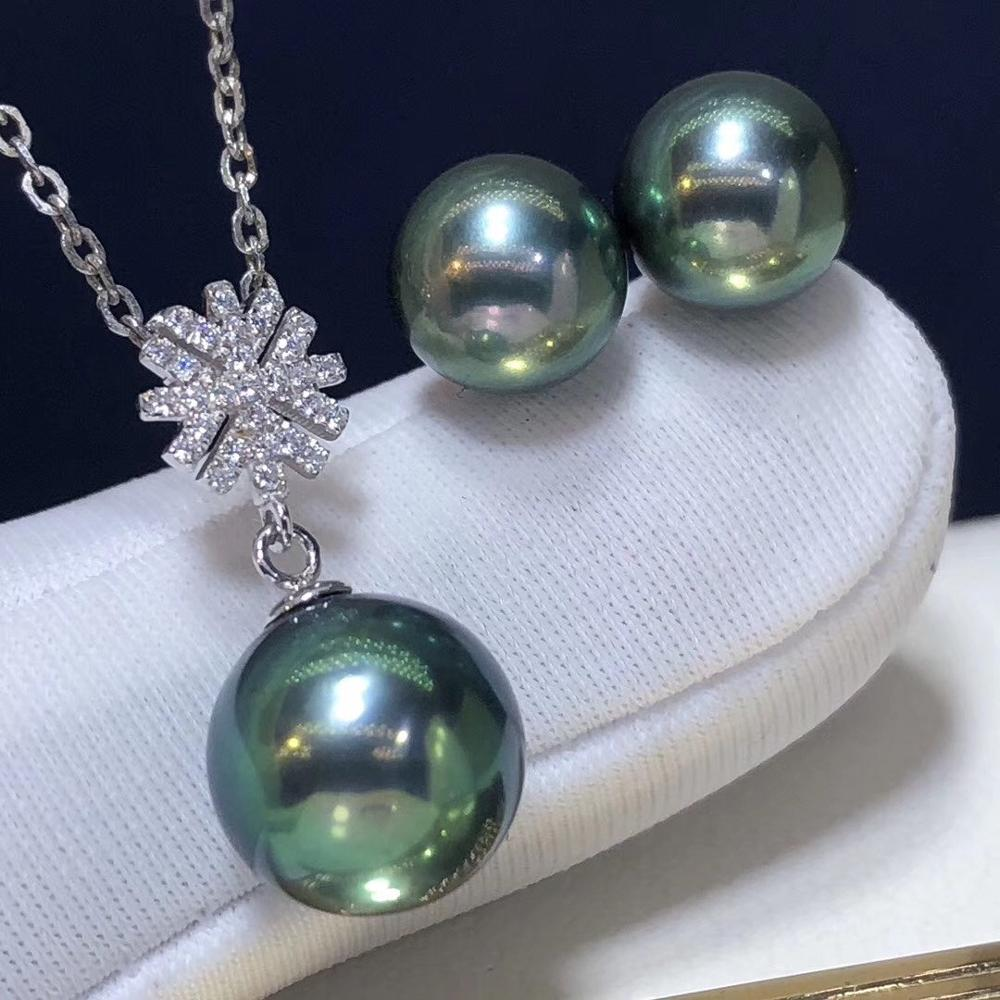 D302 Fine Jewelry 18K White Gold Natural Fresh Water Peacock Green Pearl 7-9mm Female's Jewelry Sets for Women FIne Jewelry Sets
