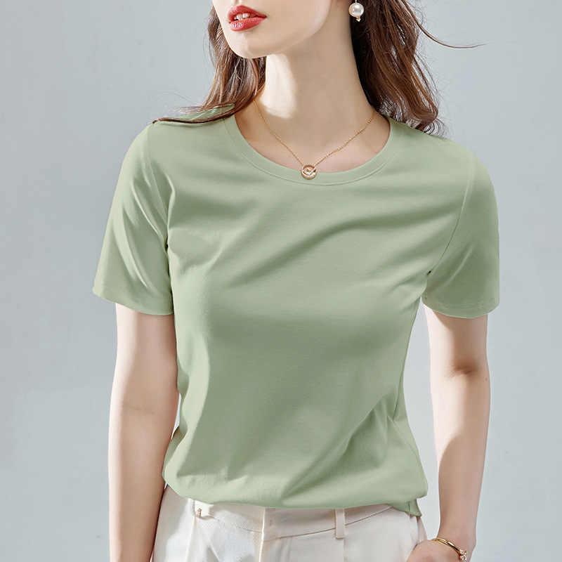 2020 夏半袖 tシャツファム 20 ソリッドカラーの基本的な弾性コットン tシャツ女性のカジュアルなプラスサイズ白 tシャツ