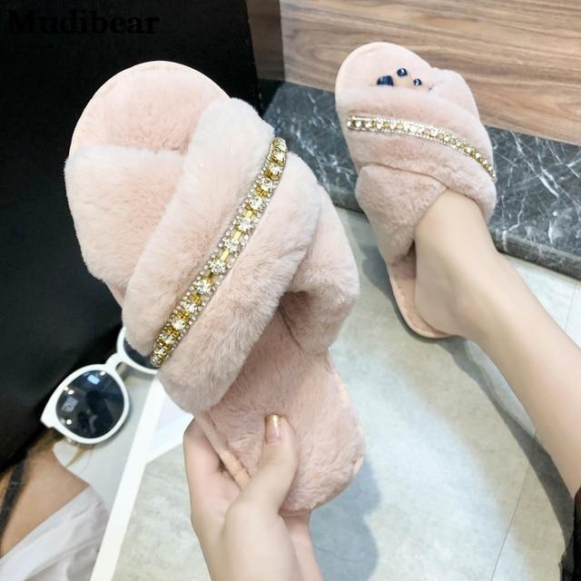 Фото mudibear/новый стиль кросс лучшие женские плюшевые тапки для