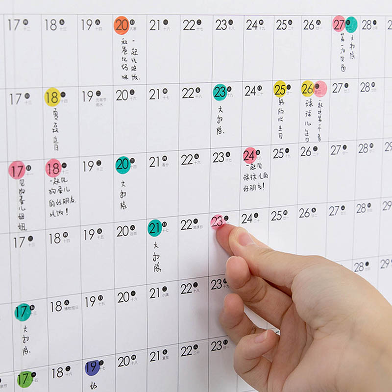 2020 Block Year Planner Daily Plan Paper Wall Calendar With 2 Sheet EVA Mark Stickers For Office School Home