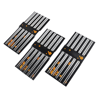 5 pares de acero inoxidable palillos chinos cuadrados chino elegante de luz saludable Metal de peso no-diseño antideslizante de la cocina