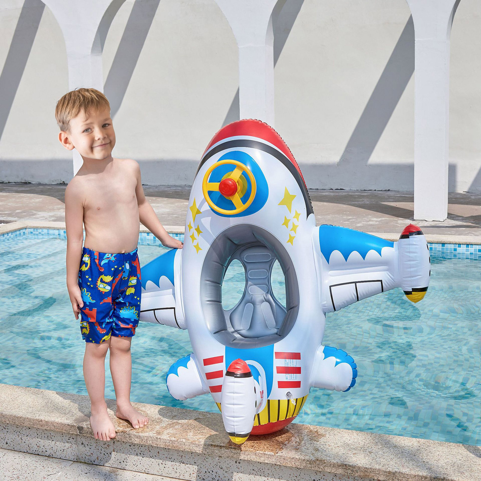 Aircraft Swimming Ring for Kids PVC Inflatable Swimming Ring Outdoor Swimming Pool Floats Children Swimming Toys 100x110cm
