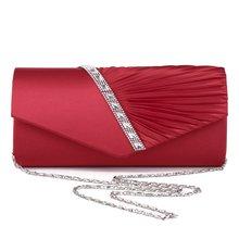 Женская атласная вечерняя сумочка со стразами бриллиантами струнными сборками ткань модный кошелек-клатч Сумочка для вечерние банкет, для девушек и женщин
