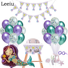 Leeiu Little Mermaid PARTY ตกแต่ง Mermaid TAIL Happy วันเกิดแบน(China)