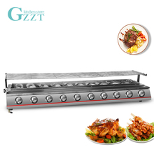 GZZT BBQ LPG Gas Grill Glass/Steel Shield 10 Burners Stainless Steel Barbecue for Outdoor Smokeless Comercial