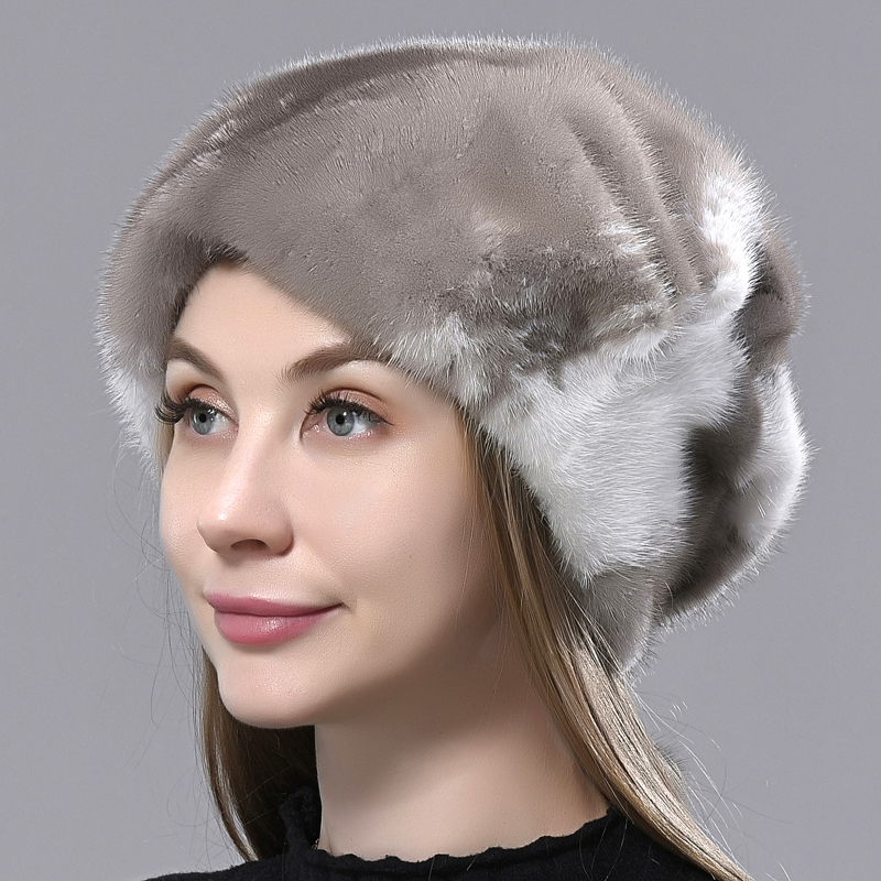 Mink Fur Hats for Women Stylish Warm Natural Whole Mink Fur Luxury Winter Caps anti cold Snow Hat with balls for head 55-62cm