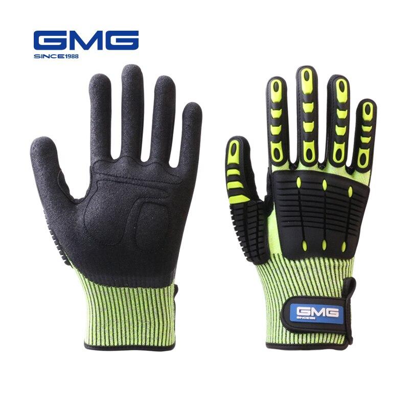 Противоударные перчатки, антивибрационные маслостойкие желтые перчатки GMG HPPE GMG TPR, защитные рабочие перчатки, устойчивые к порезом