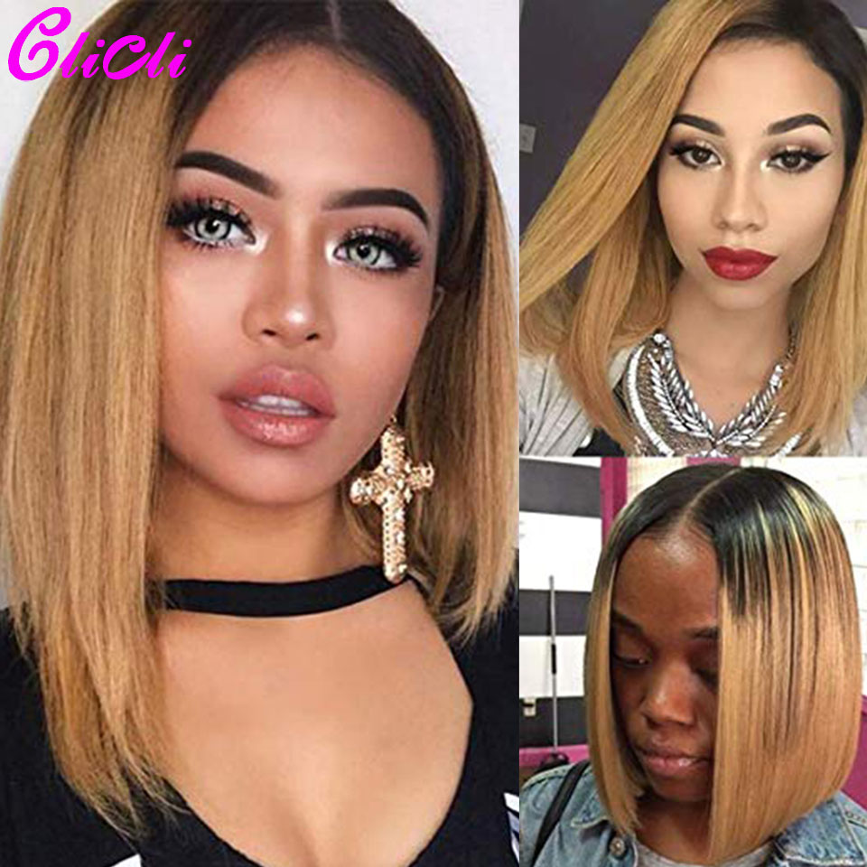 13X4 Brazilian Short Bob Lace Front Wigs Pre Plucked 1b 27 Glueless Remy Human Hair 150 Density 13X6 Brown Lace Front Wigs