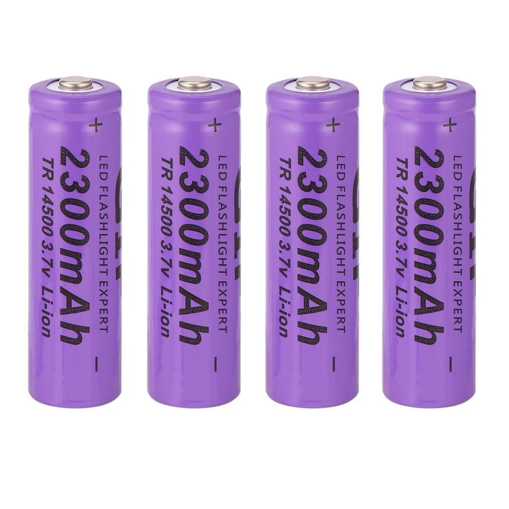 IN STOCK! 4 pcs Purple <font><b>14500</b></font> 3.7 V 2300 mAh <font><b>Li</b></font>-<font><b>Ion</b></font> Rechargeable Battery image