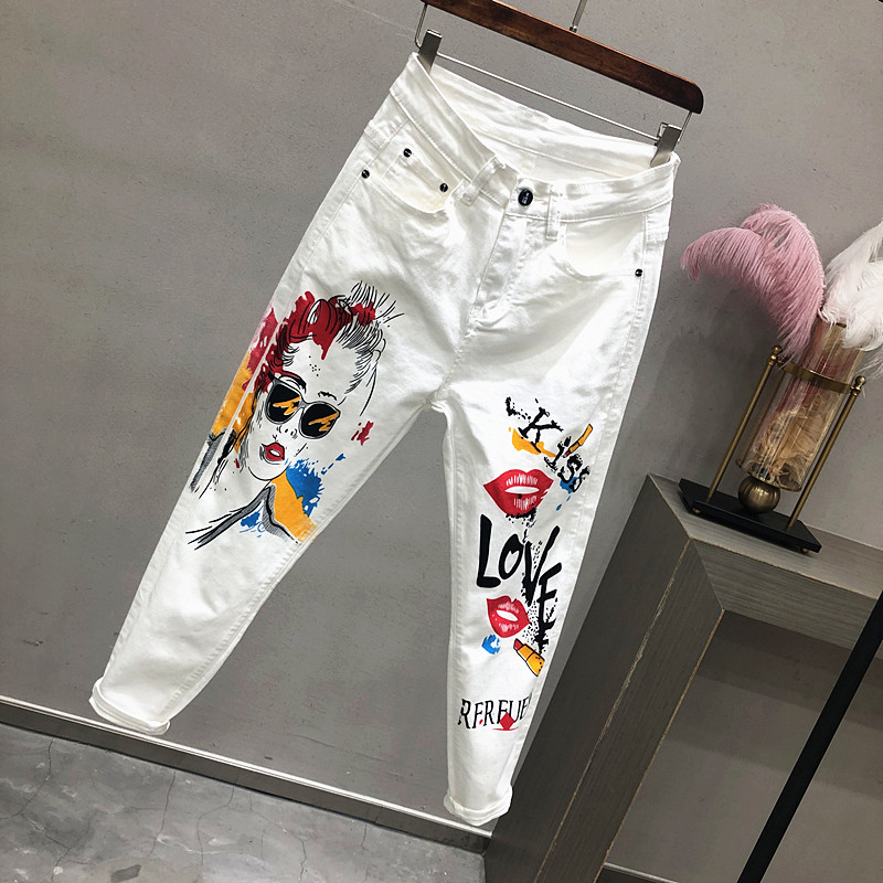 Summer Spring Women White Denim Jeans Cartoon Graffiti Flowers Print Stretched Hallen Jeans Pencil Pants Slim Capris Jeans Y78