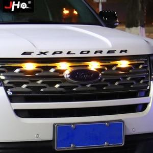 Image 2 - JHO Car Smoke przedni grill LED Light Raptor stylowa lampa dla Ford Explorer 2016 2019 2018 2017 Limited Sport Platinum akcesoria