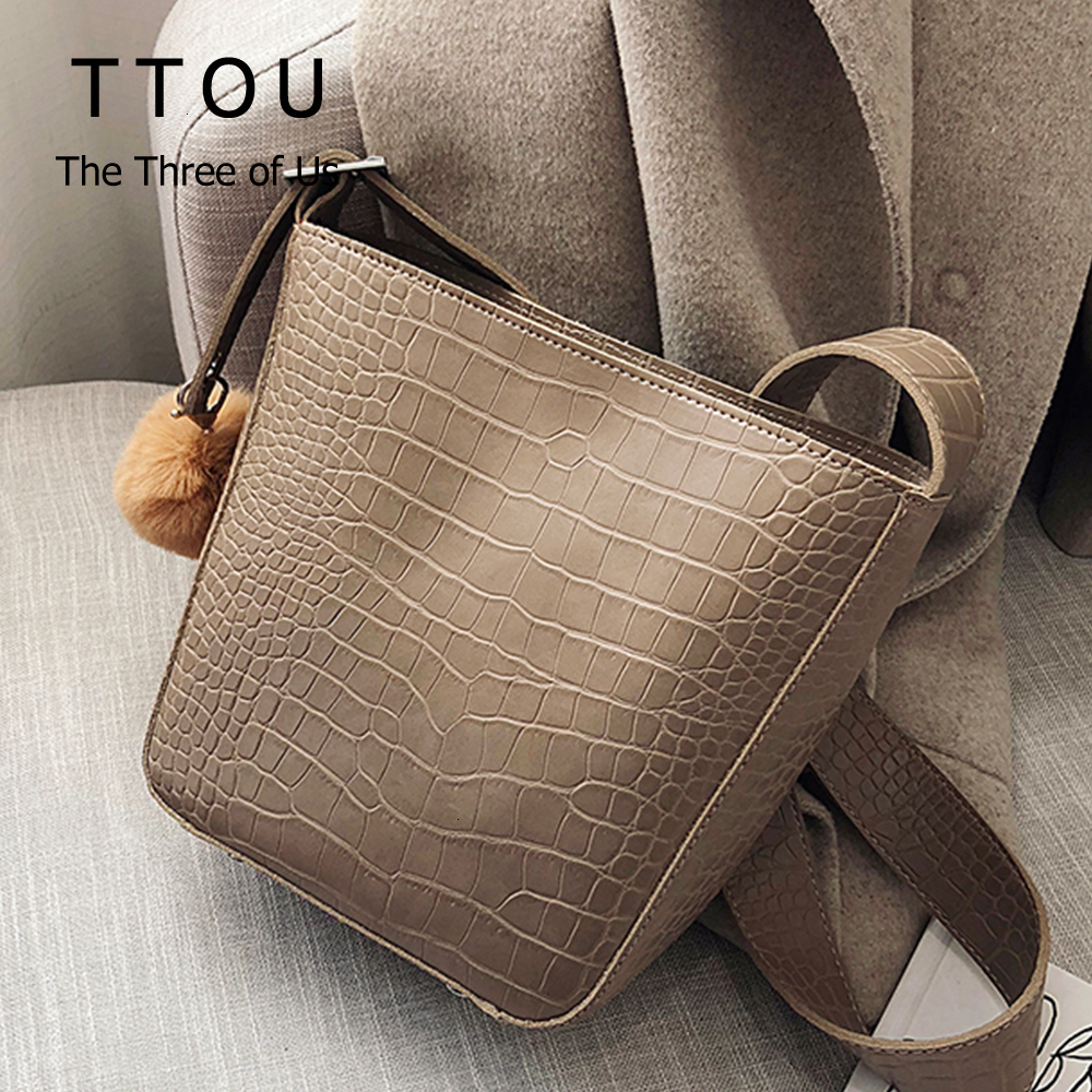 Casual Stone Pattern Women Shoulder Bag Designer Pu Leather Plush Ball Female Crossbody Bags Daily Office Ladies Backet Bags