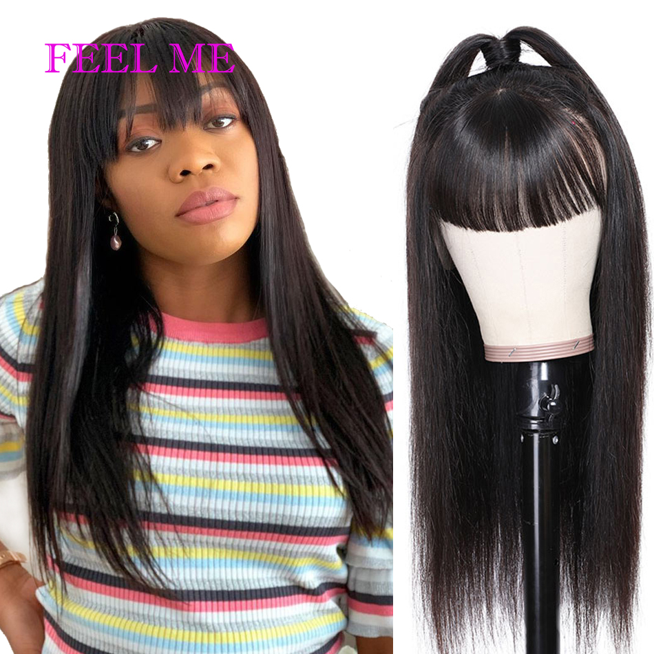 Straight Human Hair Wigs With Bangs Pre Plucked Full Machine Made Wigs Peruvian Human Hair Wig Natural 130% Remy Straight Wigs