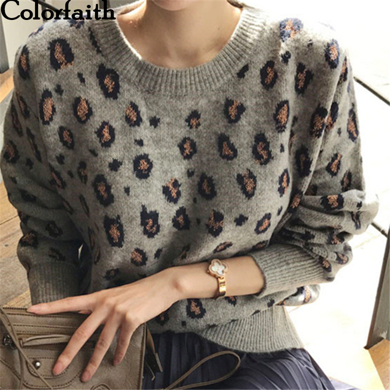 Colorfaith New 2019 Autumn Winter Women's Sweaters Pullovers Tops Leopard Korean Style Knitting Long Sleeve Ladies Female SW9539