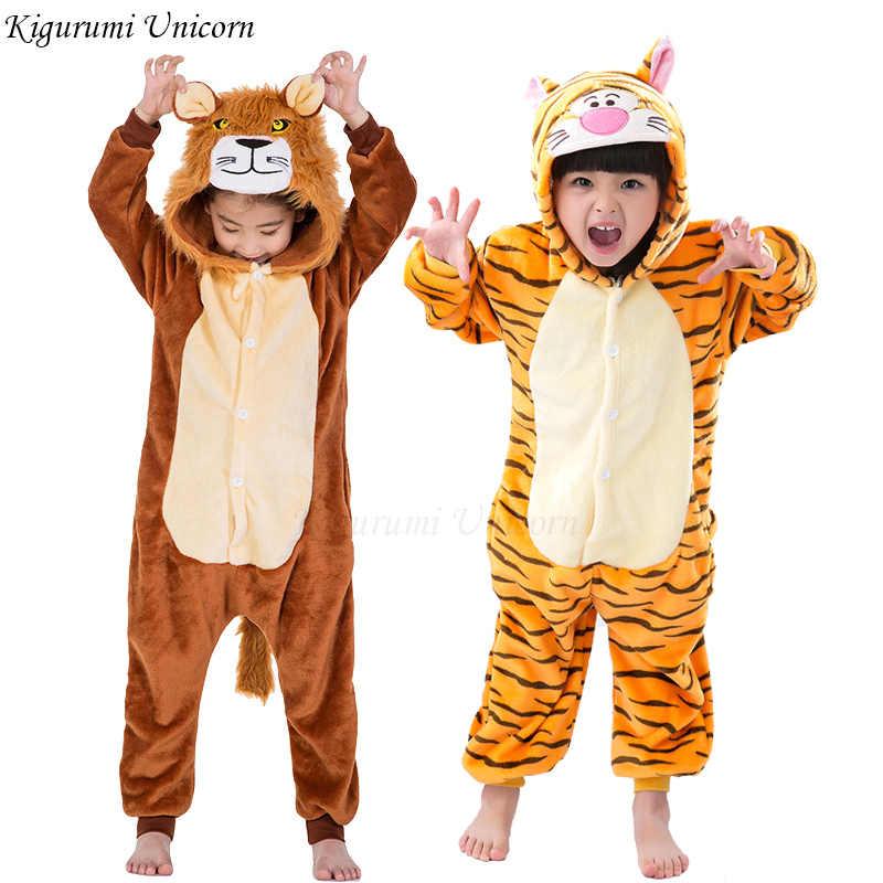 Kigurumi Unicorn פיג לילדים בנות פיג 'מת ילד הלבשת בעלי החיים סטיץ פנדה סרבל תינוקות ילדים פלנל פיג' מה
