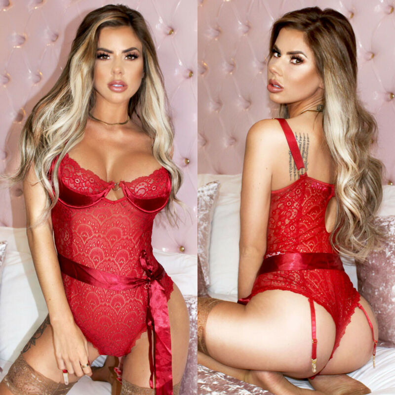 Sexy Red Pajamas Womens Corset Shaper Pajama Lingerie Sleepwear Lace Teddy G-string Underwear Babydoll Nightwear