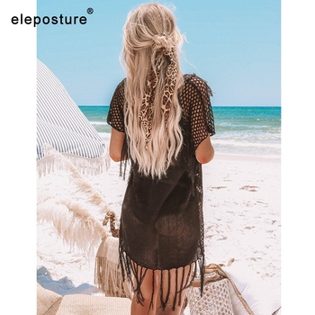New Knitted Beach Cover Up Women Bikini Swimsuit Cover Up Hollow Out Beach Dress Tassel Tunics Bathing Suits Cover-Ups Beachwear 8