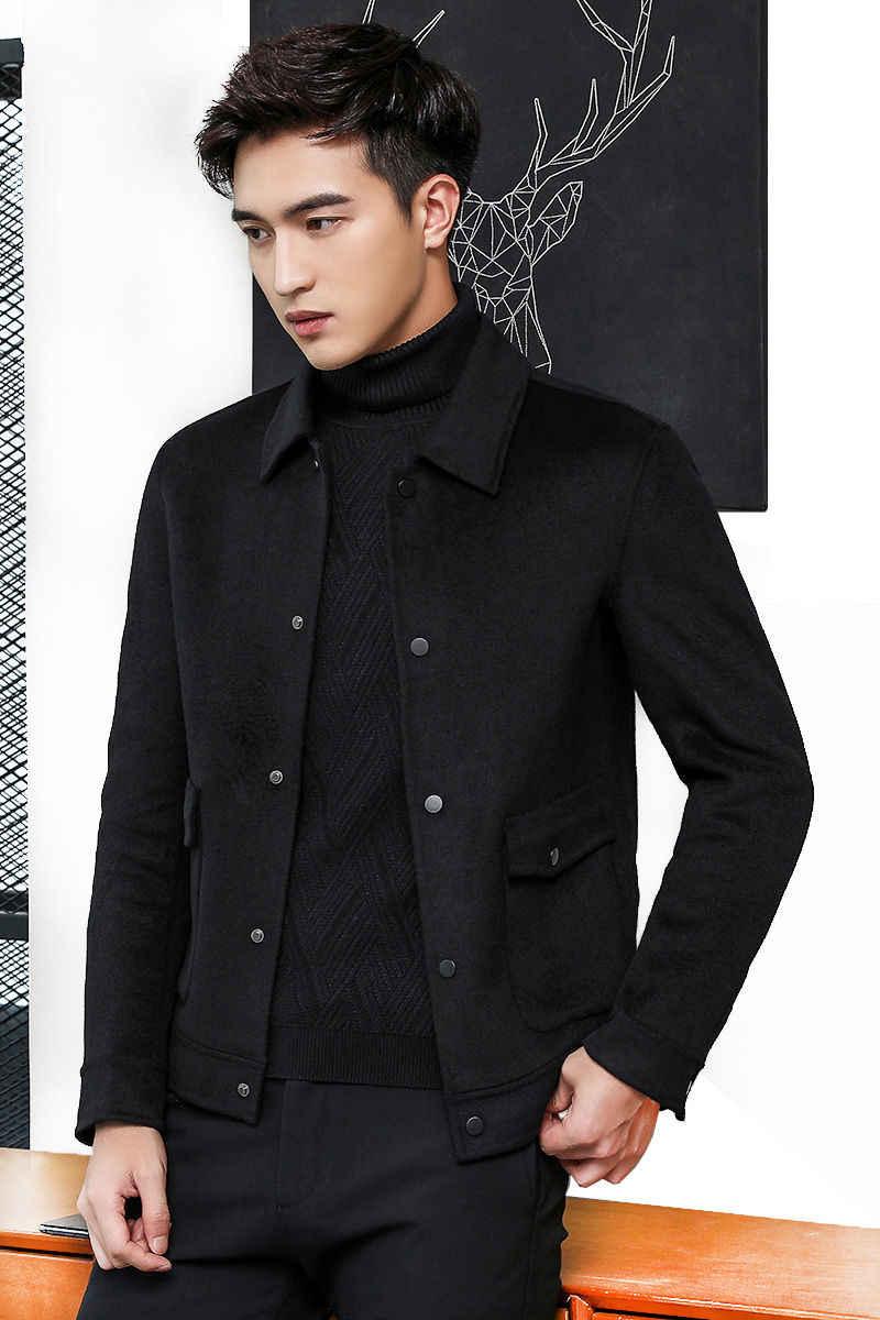 Модная новая шерстяная куртка, пальто для мужчин, зимнее мужское шерстяное короткое молодежное двухстороннее шерстяное мужское пальто, горячая Распродажа