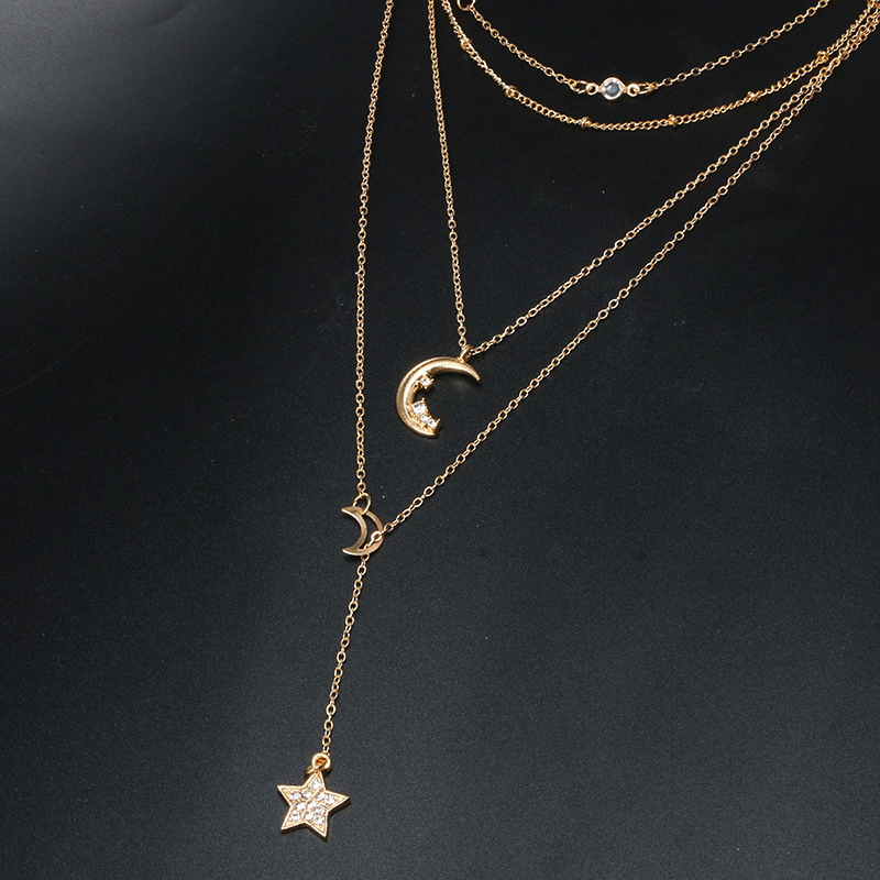 Fashion Star Moon Crystal Long Pendant Necklaces Vintage Bohemia Gold Multilayer Choker Necklace For Women Trendy Jewelry kolye in Pendant Necklaces from Jewelry Accessories