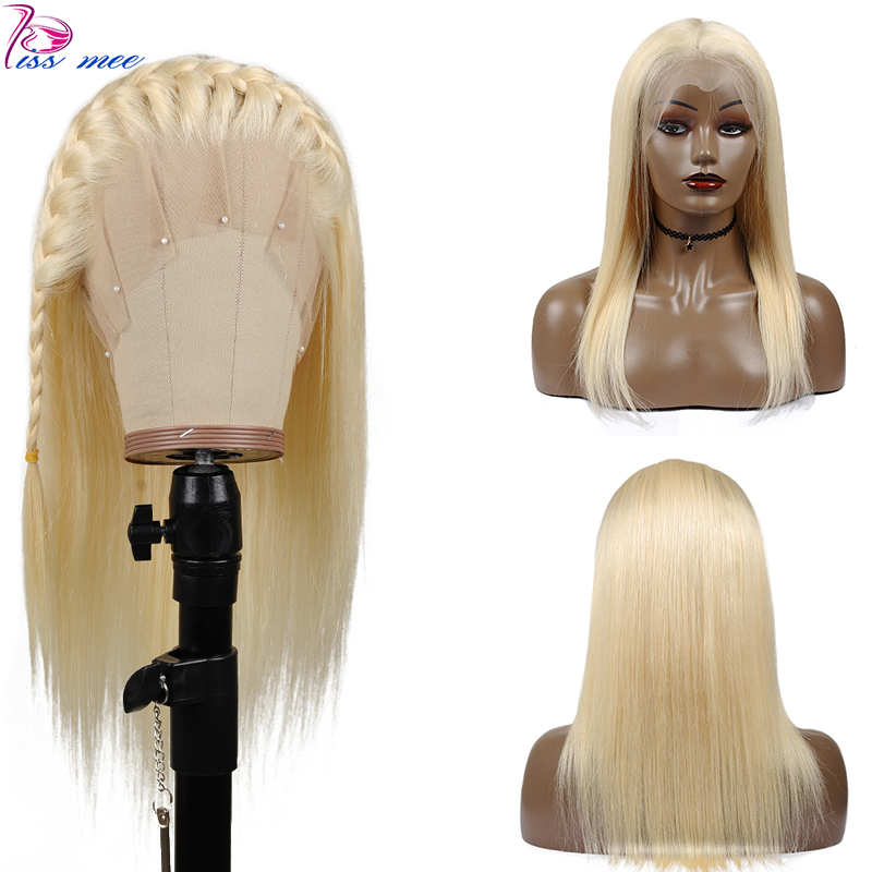 Kissmee Blonde Glueless Full Lace Human Hair Wig Pre Plucked Straight 613 Blonde Lace Frontal Wig Remy Peruvian Ladies Hair Wigs