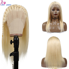 Kissmee Blonde Glueless Full Lace Human Hair Wig Pre Plucked Straight 613 Blonde Lace Frontal Wig Remy Peruvian Ladies Hair Wigs стоимость
