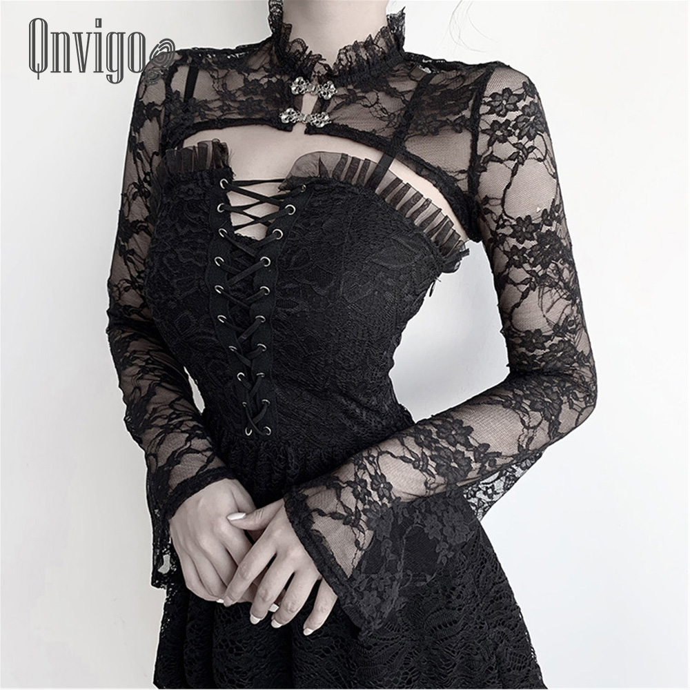 Qnvigo Lace Crop Top Trumpet Long Sleeve Black Stand-up Collar V-inner Blouse Palace Tight-fitting Sexy Mesh Shoulder Top