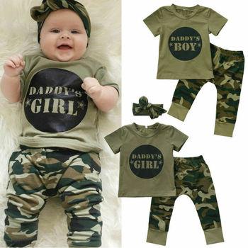 цена Newborn Kids Baby Boys Girls Clothing Sets Camo T-shirt Tops Pants Outfit Set Clothes Daddys Girl Boy Sets онлайн в 2017 году