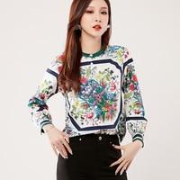 Blusas Femininas 2019 Fashion Floral Tops And Blouses Mujer Autumn Long Sleeve Femme Shirts vintage Print Chiffon Women Blouses