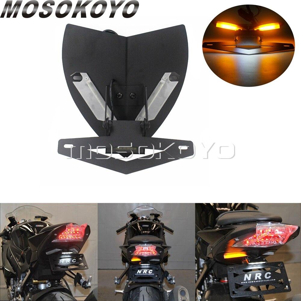 Мотоцикл хвост аккуратный светодиодный Integarted крыло комплект рамки w/держатель номерного знака сигнальный свет для BMW S1000RR S1000R 2009 2014