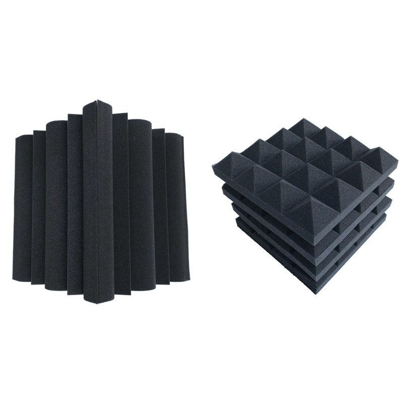 16 Pcs Acoustic Foams:12 Pcs Soundproofing Foam Sound Absorption Pyramid Studio Treatment Wall Panels & 4 Pcs Corner Bass Trap A
