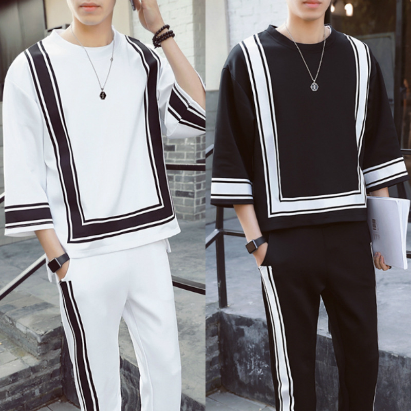 Summer New Style Ethnic-Style Half-sleeve Shirt T-shirt Suit Men's Trend Handsome Cool Half-sleeve Shirt Half-sleeve Shirt Two C