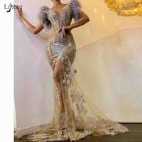 New Arrival Mermaid Long Evening Formal Dresses Sparkly Sequin Feather Evening Gowns Elegant Applique Prom Gown Robe De Soiree