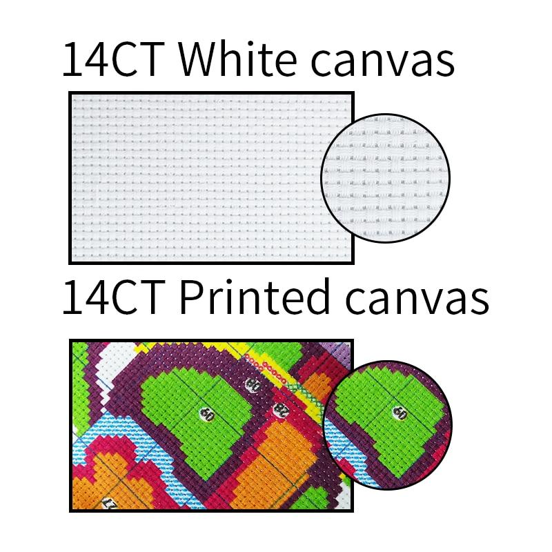 Tiger Patterns Cross Stitch Fabric Printed Canvas Aida 14ct 11ct DMC Cotton Thread DIY Crafts Count Cross Stitch Needlework Sets
