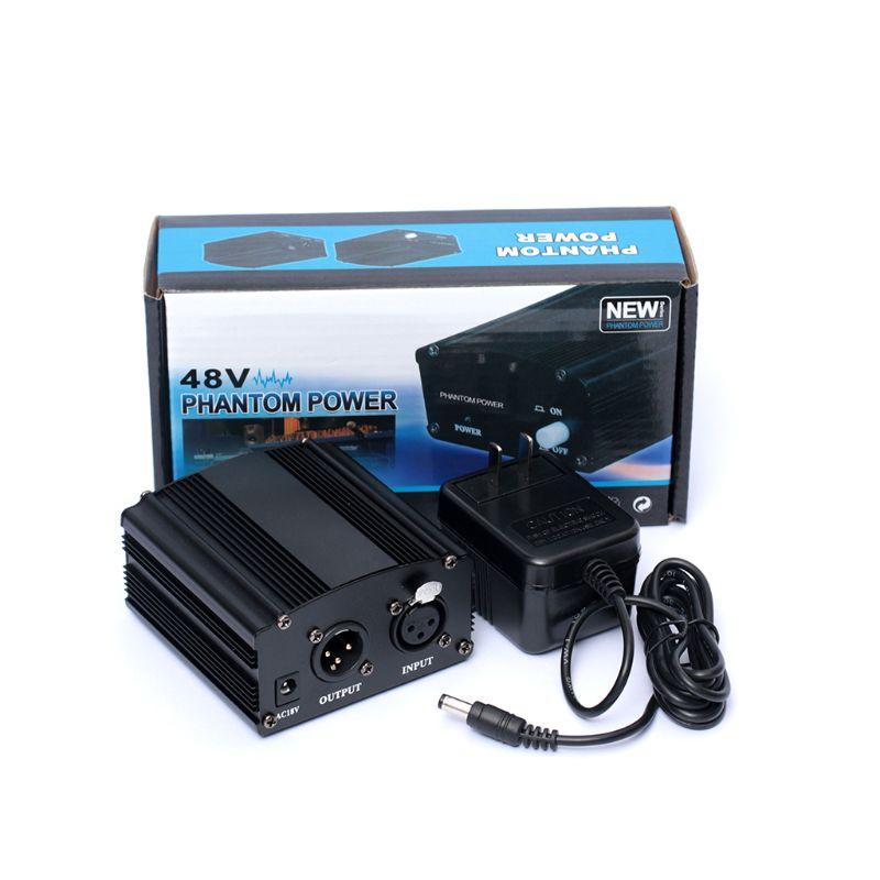 48V Phantom Power Supply With Adapter AU US EU Plug For Condenser Karaoke Mic