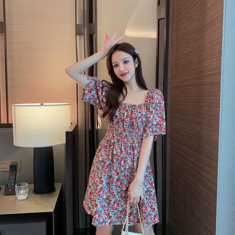 Women Chiffon Dress 2020 Summer Fashion Female Short Sleeve Floral Print Casual Mini Dresses Vintage A-line Boho Vestidos
