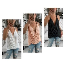 Women Spring Summer Versatile Sleeveless Solid Color Sexy Halter Short Sexy V-neck Loose Camisole Women Vest 2019 novel summer women camisole fashion sexy simple solid color vest sling loose v neck lace sleeveless camisole tops