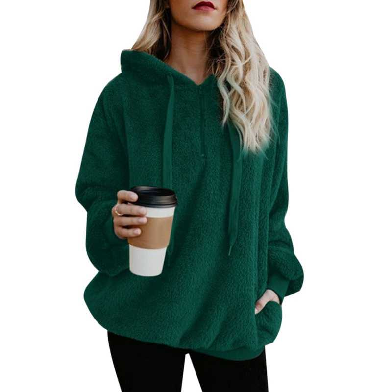 Sfit Vrouwen Fleece Hoodies 2018 Lange Mouwen Hooded Sweatshirt Herfst Winter Warm Zipper Pocket Bontjas Plus Size