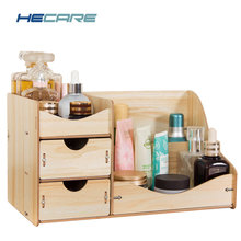HECARE Jewelry Container Modern Home Wooden Storage Box Handmade DIY Assembly Case Cosmetic Organizer Makeup Organizer  Wood Box new arrive hot 2pc set portable jewelry box make up organizer travel makeup cosmetic organizer container suitcase cosmetic case