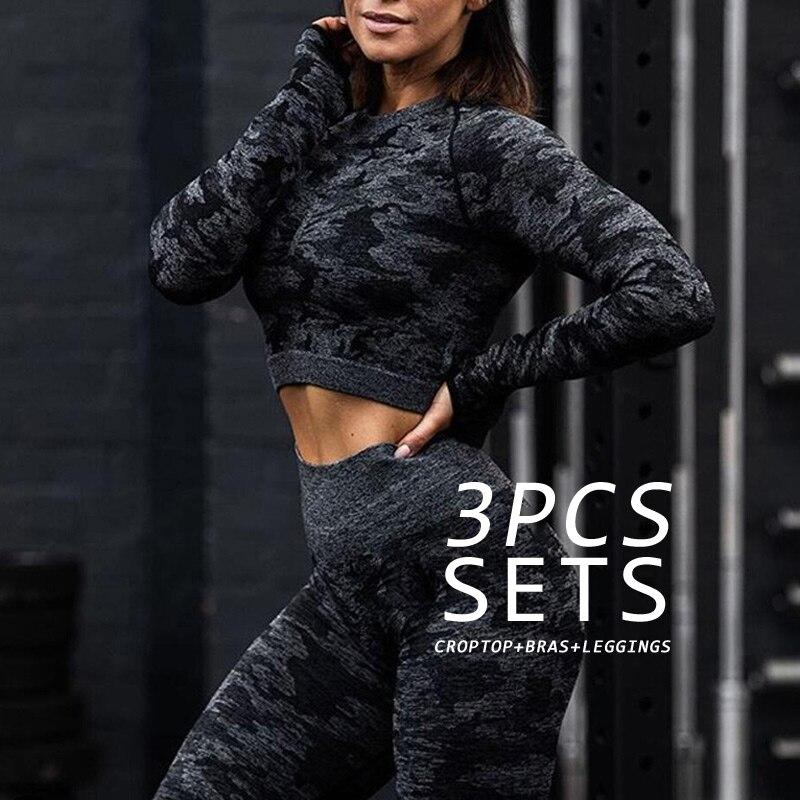 3PCS Camouflage Camo Yoga Set Sports WearWomen Gym Fitness crop top + Leggings +Sport Bra GYM Suit Fe