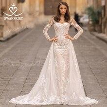 Suknia ślubna 2 w 1 odpinany pociąg syrenka z długim rękawem aplikacje koronkowa księżniczka Vestido de novia 2020 Swanskirt N312 Bridal