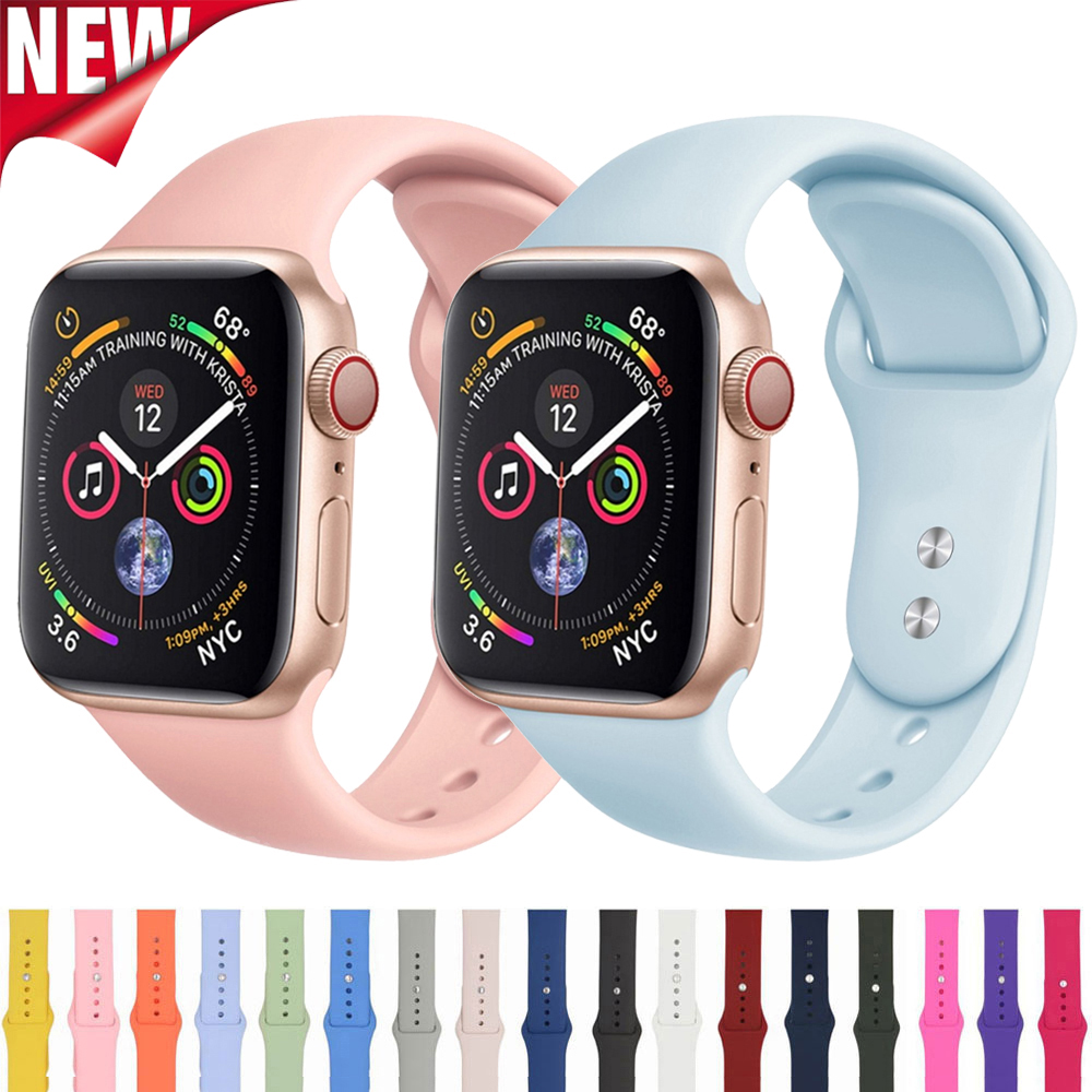 Silicone Strap For Apple Watch Band 38mm 42mm Apple Watch 4 5 Correa Iwatch 5 4 Band 44mm 40mm Sport Bracelet Watchbands 5 4 3 2